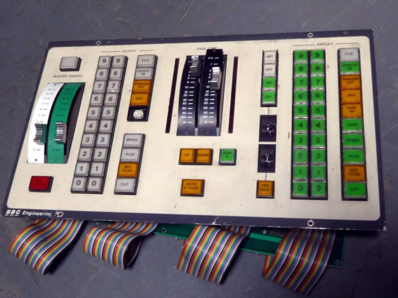 Audio studio panel with linear faders & coloured square buttons