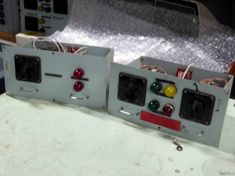 Non-practical navy control panels with large domed lamps & chunky rotary switches