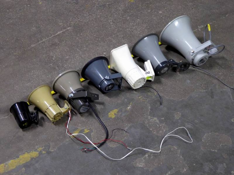 Selection of smaller horn/Tannoy style Public Address loudspeakers