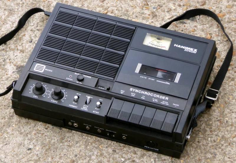 1980s portable Hanimex cassette recorder