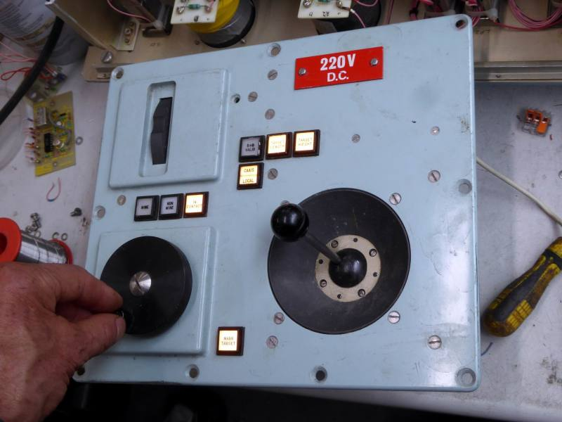 Practical navy joystick panel with cranked wheel, edge switch & illuminated square button switches