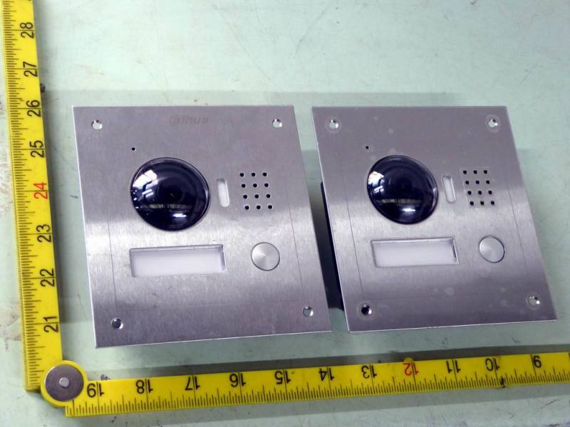 Modern brushed stainless steel video door entry call panels