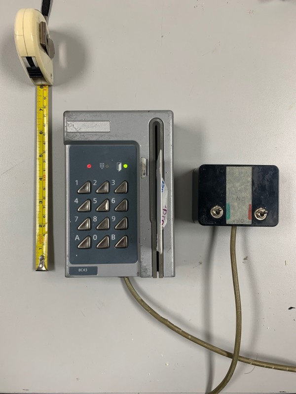 Practical - Silver/Grey card swipe security entry panel with keypad