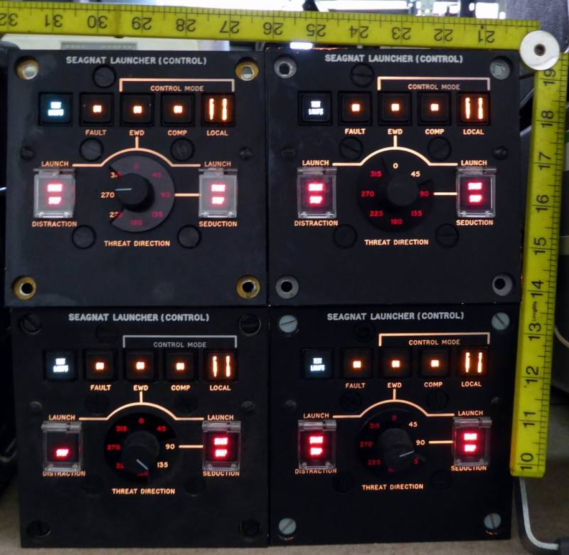 Practical black backlit military control panels with illuminated switches