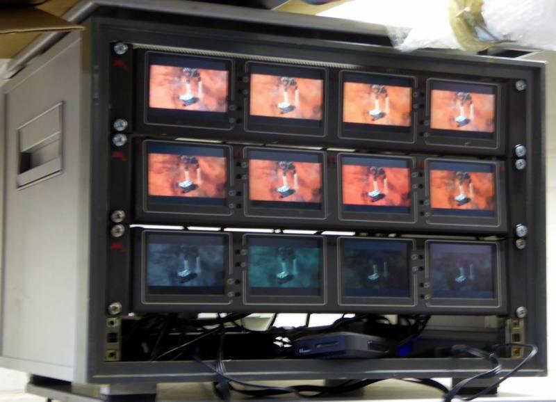 Rack of 12 x small monitors