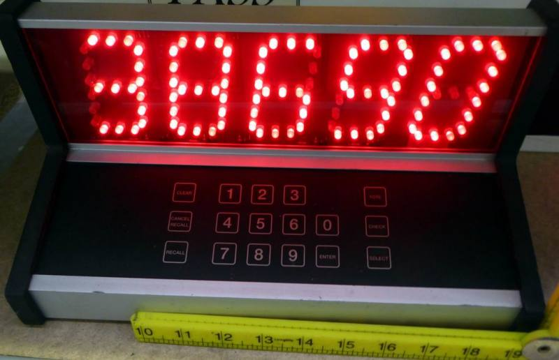 Calculator/control console with big red dot matrix display