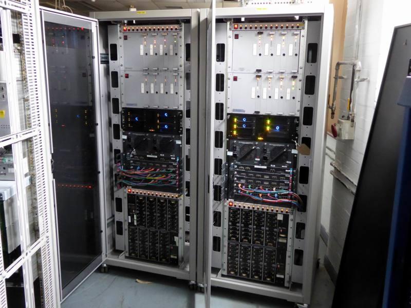 Modern, large glass fronted server racks