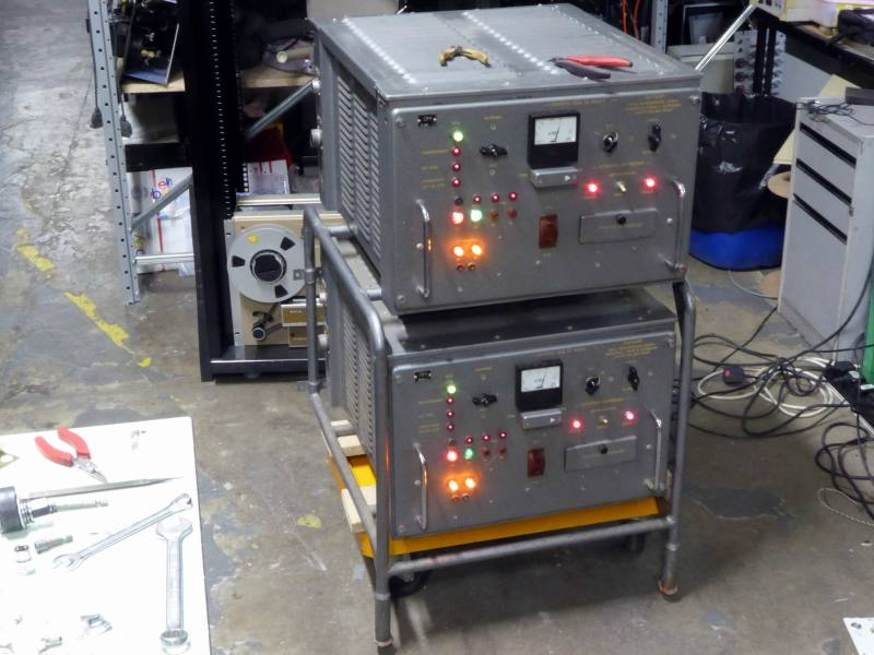 Practical twin Russian/Soviet Union cold war radio transmitter cabinets mounted in cradle