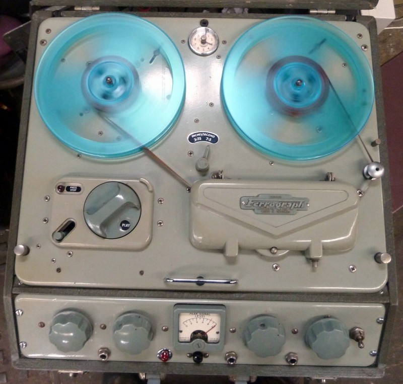 Period Ferrograph reel to reel tape recorder.