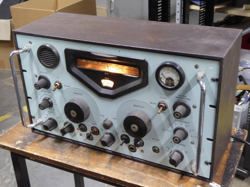 Practical period military radio in desktop cabinet