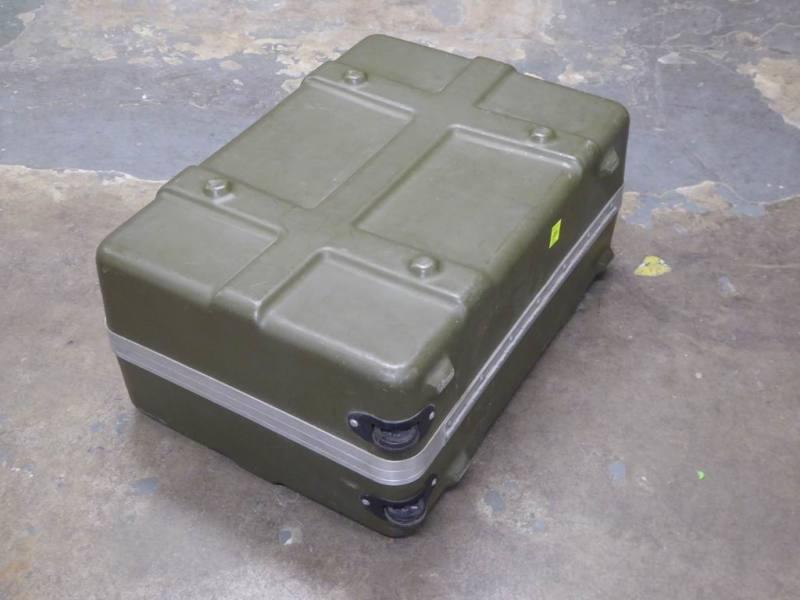 Ruggedised, ribbed khaki plastic flight case with corner wheels