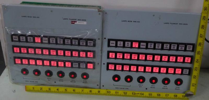 Pair of navy/cold war panels with bold red lamps & buttons