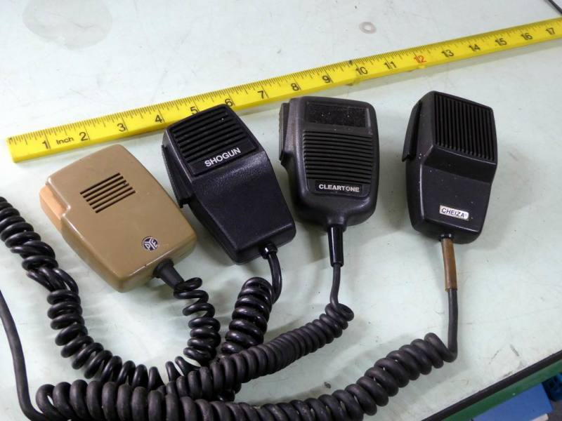 Selection of period press-to-talk fist microphones for radio transmitters etc