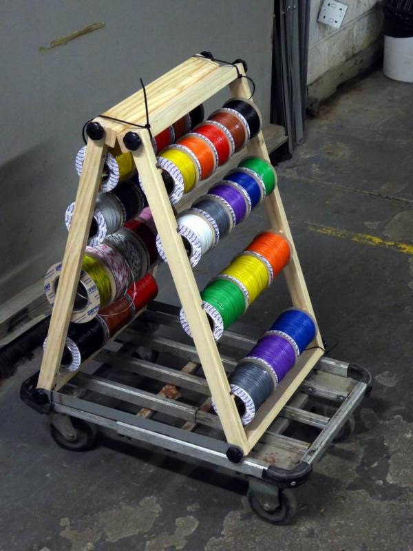 Workshop wire/cable spool/reel organiser on trolley