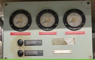 Military admiralty blue control box with triple 270° analogue meters