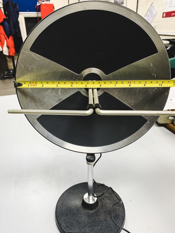 Space age portable TV aerial dish