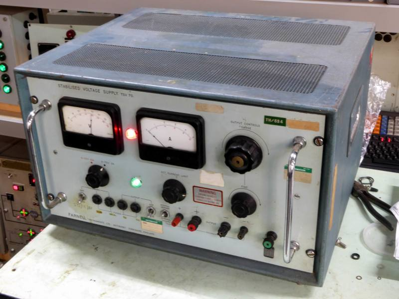 Practical period panel in case with twin analogue meters, switches, lamps