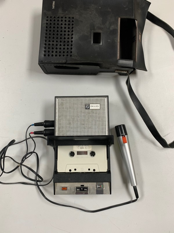 Period Philips cassette recorder/player with carry case and mic