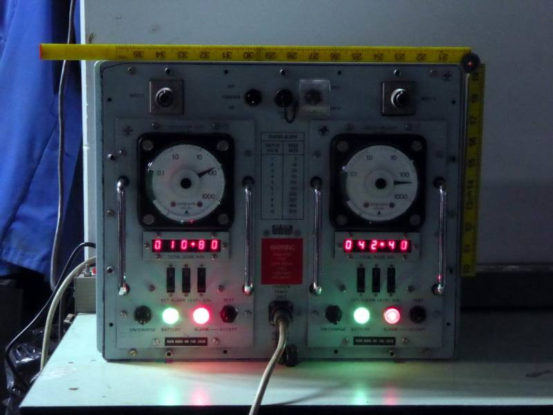 Practical navy ship/submarine radiation Geiger counter panel in ruggedised box