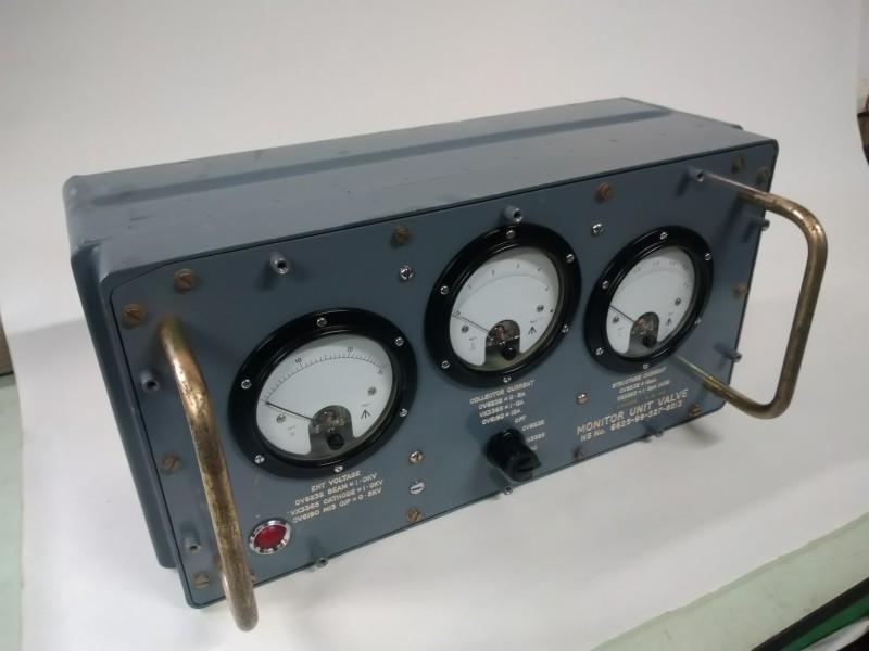 Military high voltage / current measuring meters in battleship grey box