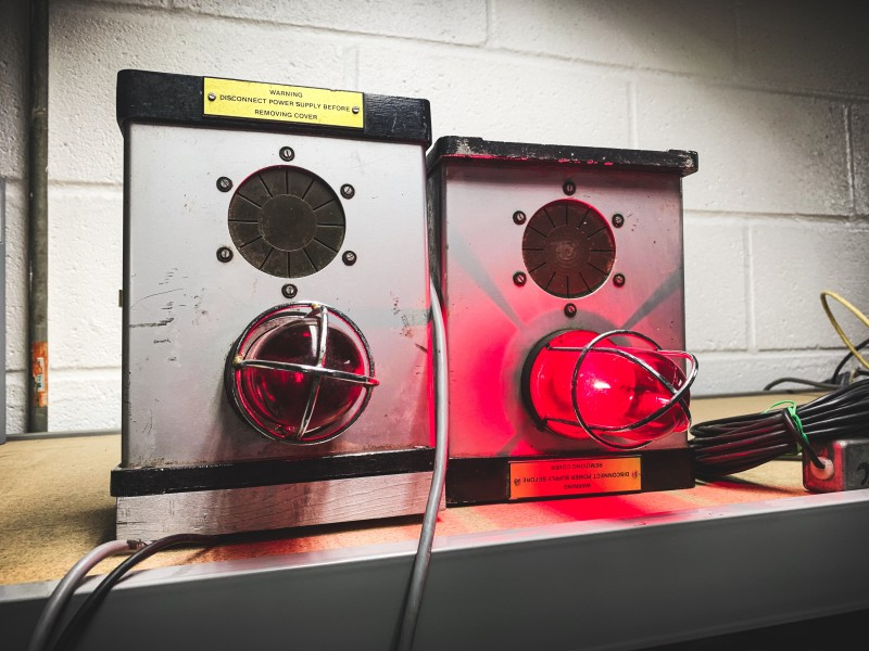 Practical red caged beacon lights