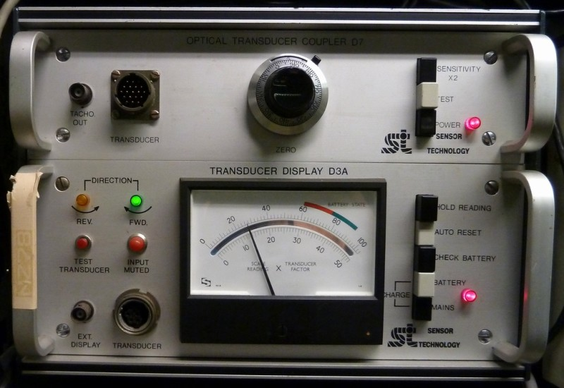 Lab instrument with remotely controlled analogue meter dial