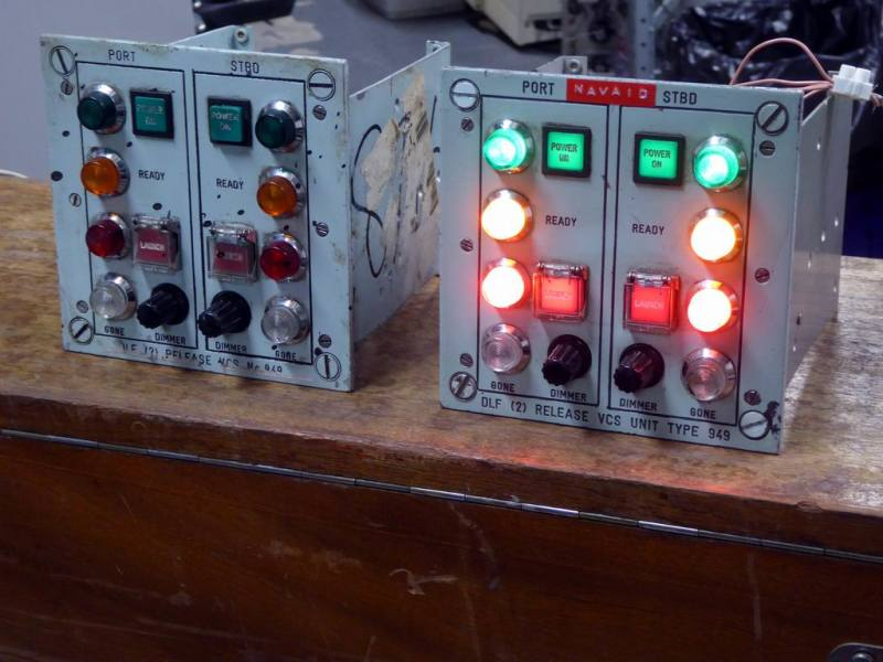 Practical/non practical cold war/navy control panels with bold lamps & launch buttons