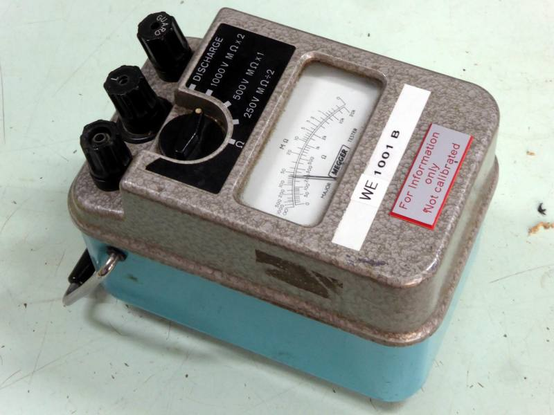 1960s style Megger electrical tester with analogue meter