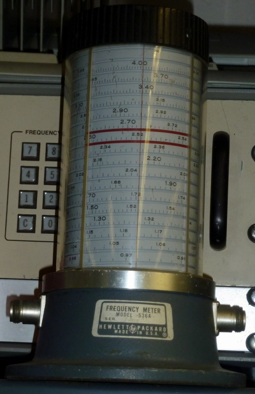 Frequency meter prop with rising spiral scale