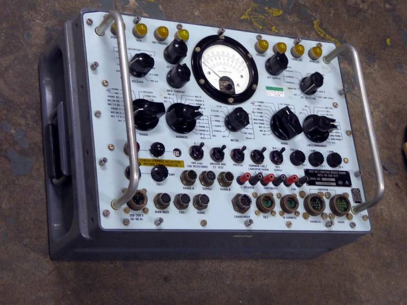 Complex looking military/cold war panel with meter, rotary switches & yellow lamps