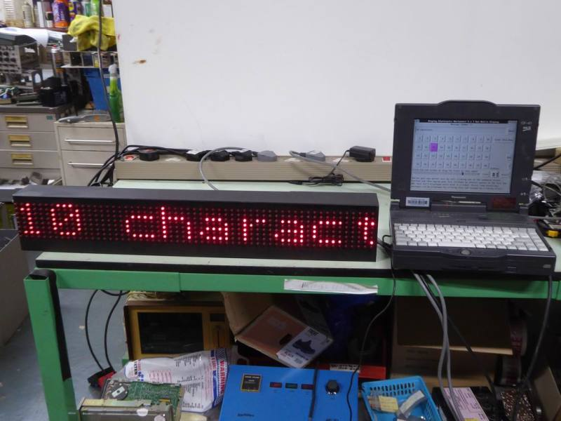 .7 metre 10 character scrolling red LED matrix sign