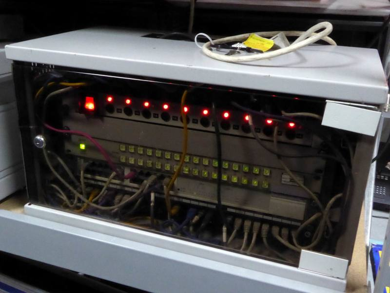 Practical ethernet networking cabinet with twinkling LEDs & smoked glass front