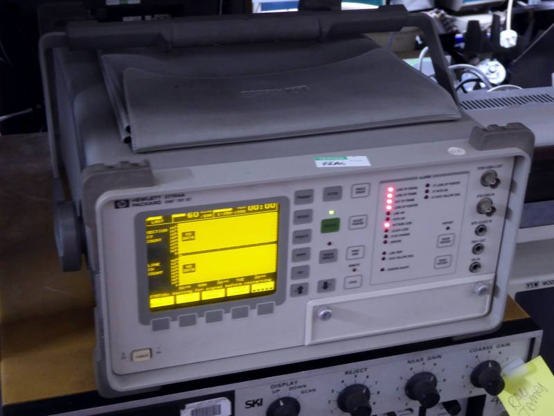 Practical Hewlett Packard 37724A digital communications analyser with yellow graphical display