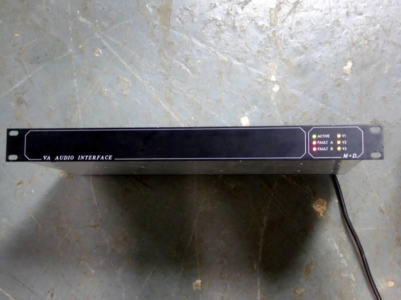 Practical black 1U VA Audio interface panel with coloured LEDs