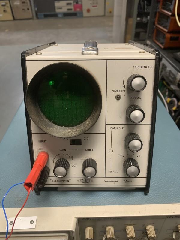 Very compact practical Telequipment Serviscope minor oscilloscope with circular screen