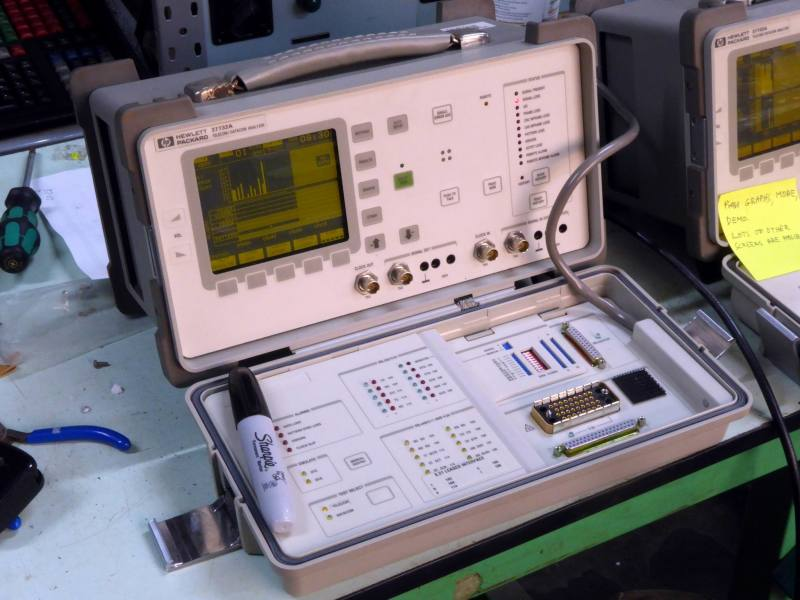 Practical Hewlett Packard 37732A digital communications analyser with yellow graphical display