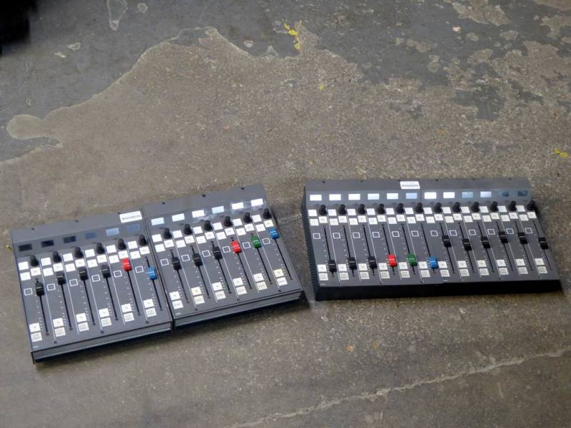 Audio mixer modules with linear faders & square buttons