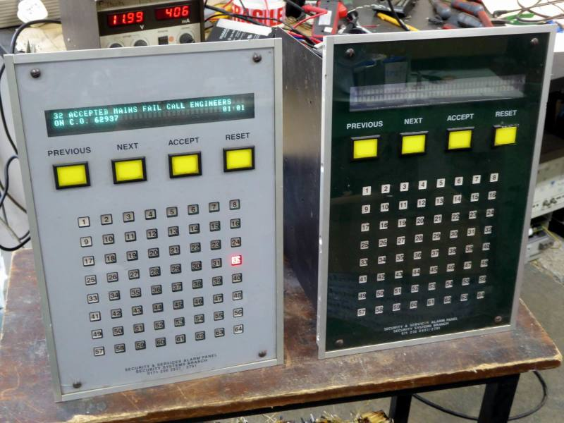 Pair of glass fronted alarm status panels