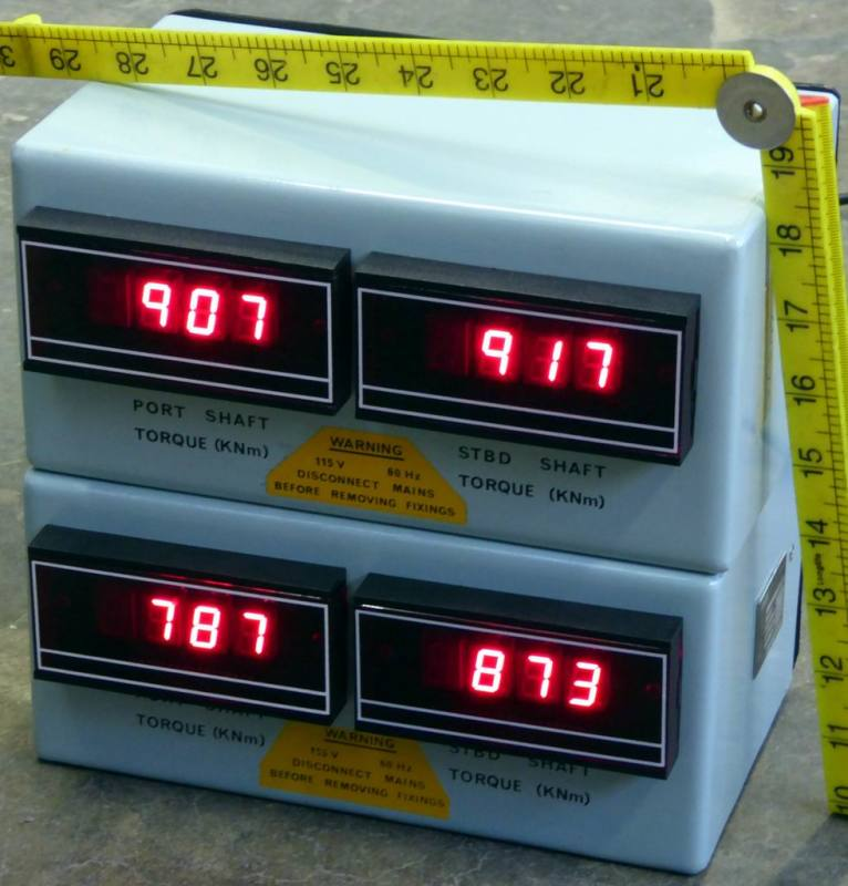 4 x red LED digital meters in duck egg blue case