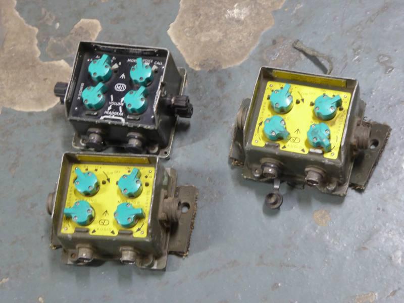 Khaki coloured military switch boxes