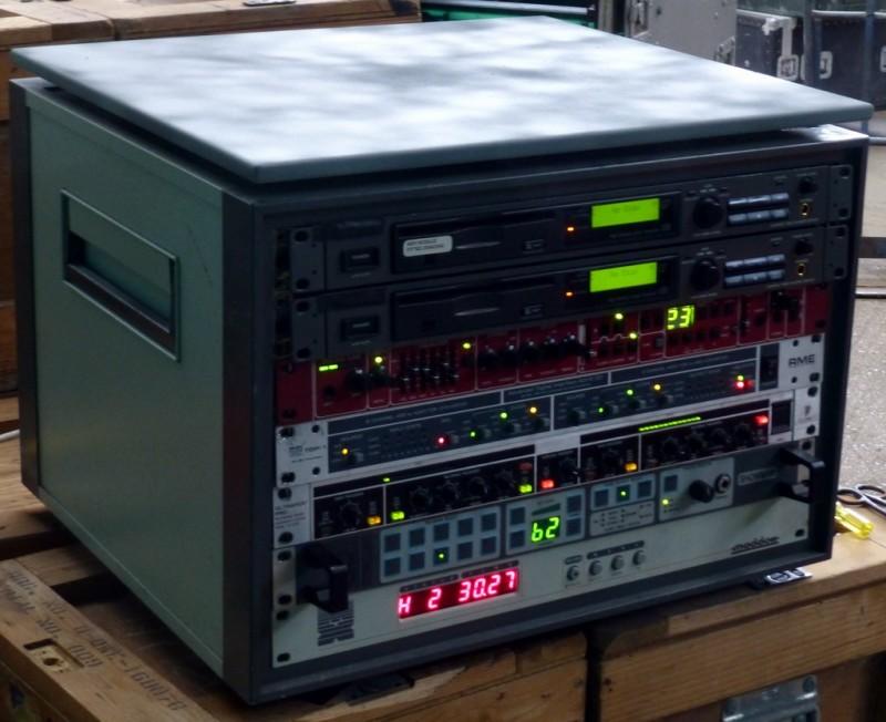 Audio themed practical panels in desktop cabinet