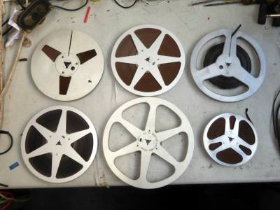 """Selection of traditional metal 1/2"""" audio tape recorder spools -different sizes"""