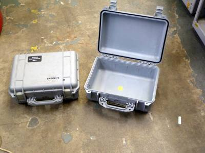 Light grey ruggedised Peli cases
