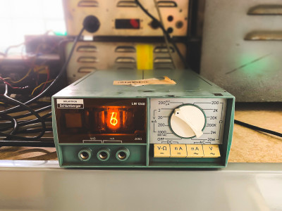 Practical duck egg blue Nixie tube multimeter
