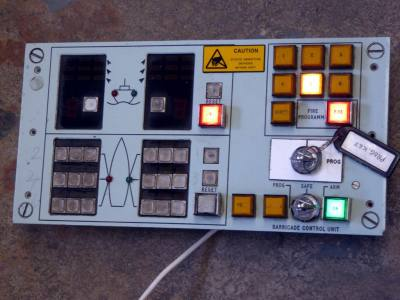 Practical navy panel with square illuminated buttons & twin key switches