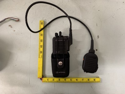Modern Police style Motorola Walkie talkie with belt holster and separate mic