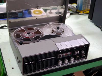 Practical fully portable Uher reel to reel tape recorder with carrying strap