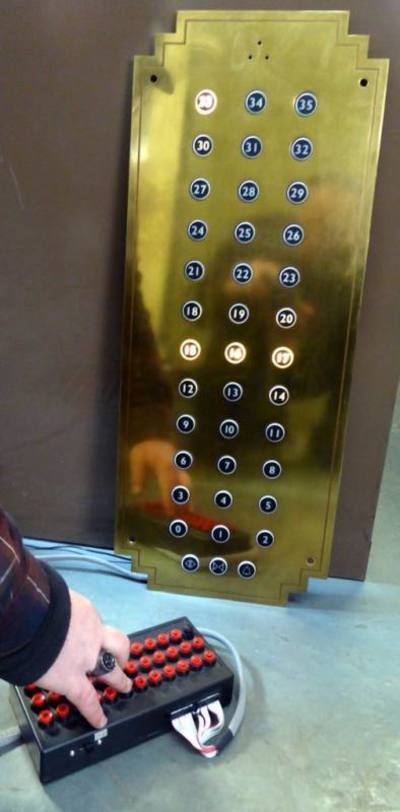 Fully practical period look brass 35 floor interior lift panel