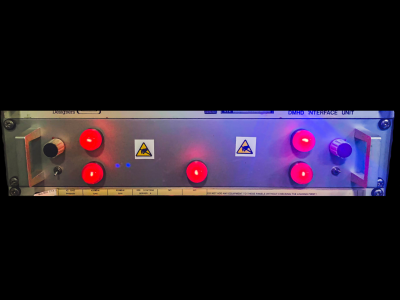 "Practical 19"" rack panel with big red illuminated lamps"