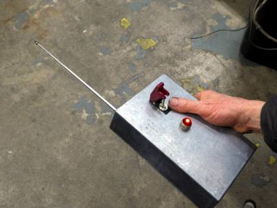 Practical, period remote control detonator prop with telescopic aerial & protected switch